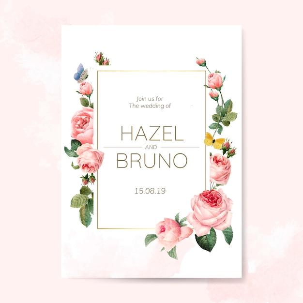 Cartão de convite de casamento decorado com vetor de rosas Vetor grátis