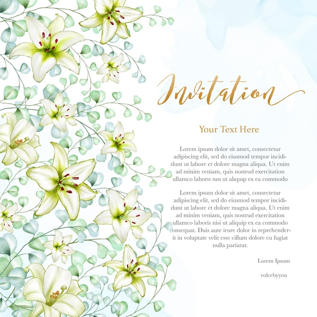 Cartão de convite de casamento design floral Vetor Premium