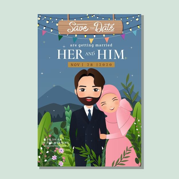 Cartão de convite de casamento dos noivos. desenho de lindo casal muçulmano com bela paisagem de fundo Vetor Premium
