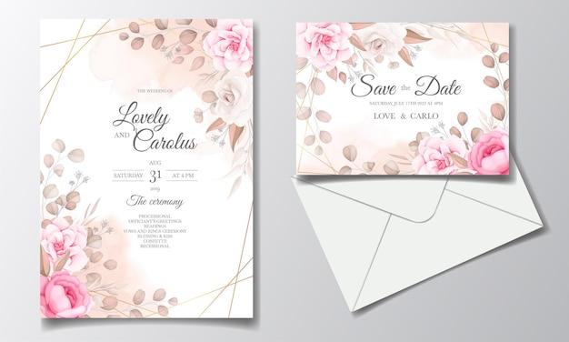 Cartão de convite de casamento elegante com lindas flores Vetor grátis