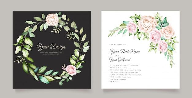 Cartão de convite de casamento elegante com lindo floral Vetor grátis