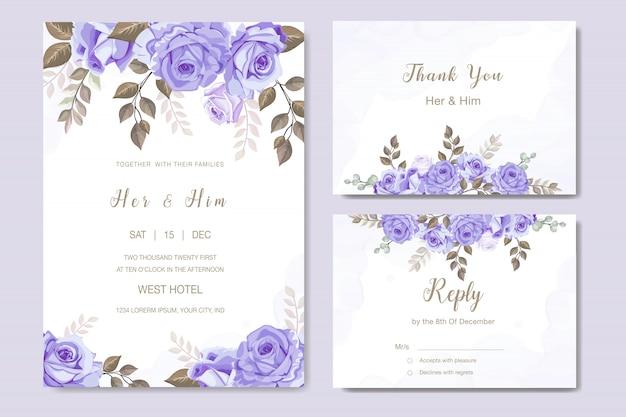 Cartão de convite de casamento elegante conjunto modelo Vetor Premium