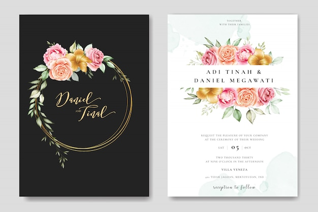 Cartão de convite de casamento em aquarela com lindo floral e folhas modelo Vetor Premium