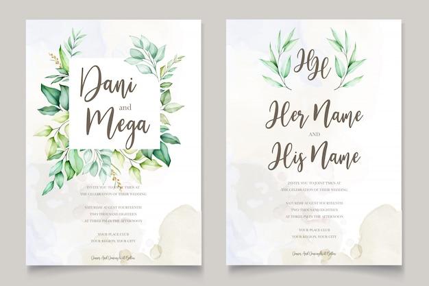 Cartão de convite de casamento em aquarela em folhas verdes Vetor Premium