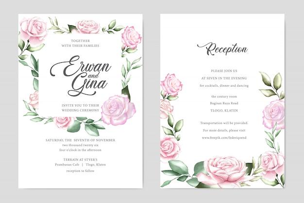 Cartão de convite de casamento em aquarela Vetor Premium