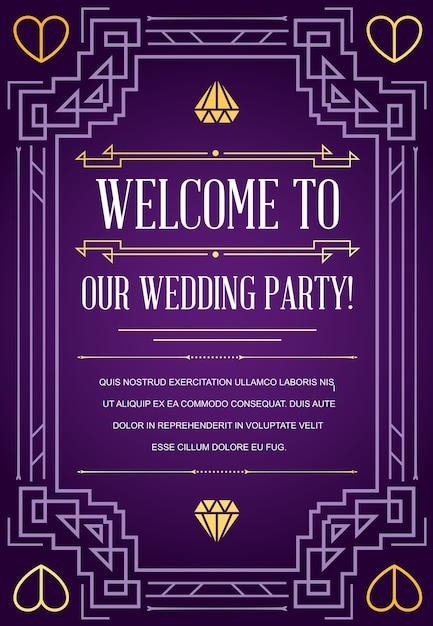 Cartão de convite de casamento em estilo art déco Vetor Premium