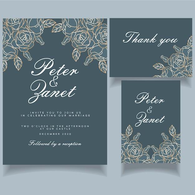 Cartão de convite de casamento evento feminino elegante conjunto tema botânico Vetor Premium
