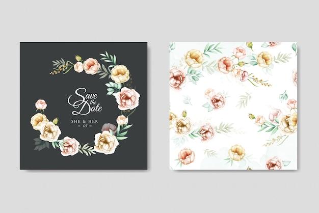 Cartão de convite de casamento floral aquarela colorida Vetor Premium