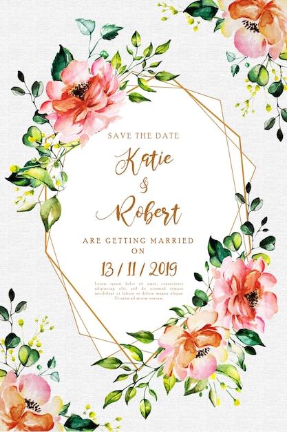 Cartão de convite de casamento floral aquarela Vetor Premium