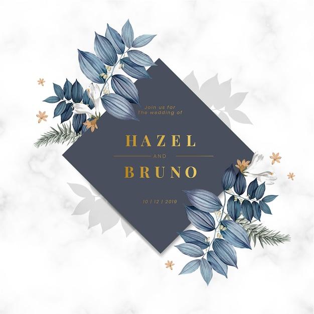 Cartão de convite de casamento floral azul Vetor grátis