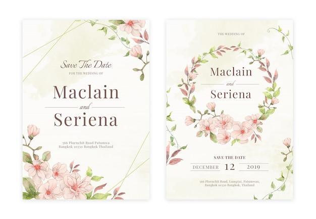 Cartão de convite de casamento floral desenhada de mão Vetor Premium