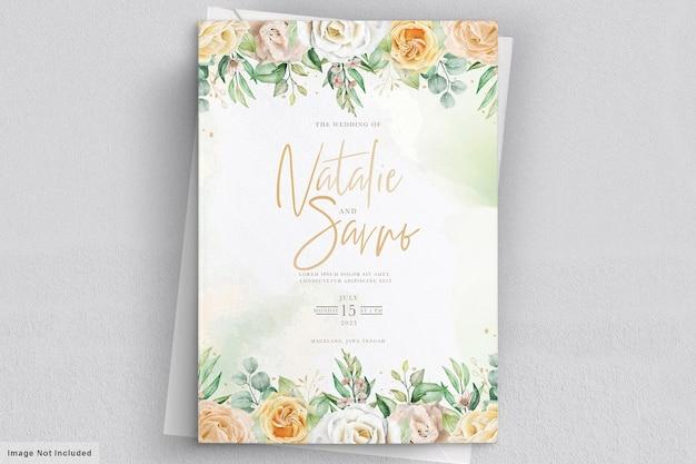 Cartão de convite de casamento floral desenhado à mão em aquarela elegante Vetor grátis
