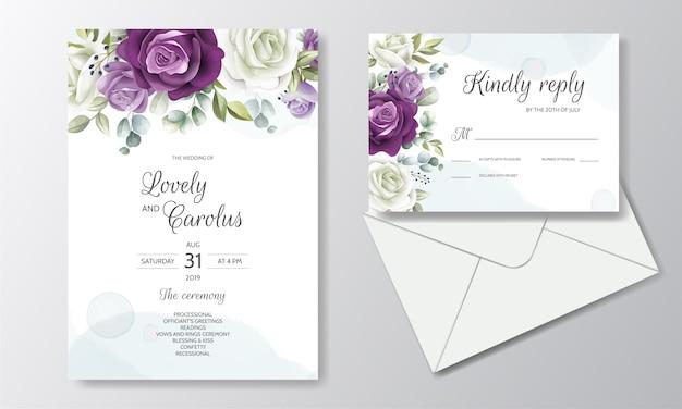 Cartão de convite de casamento floral desenhado à mão Vetor Premium