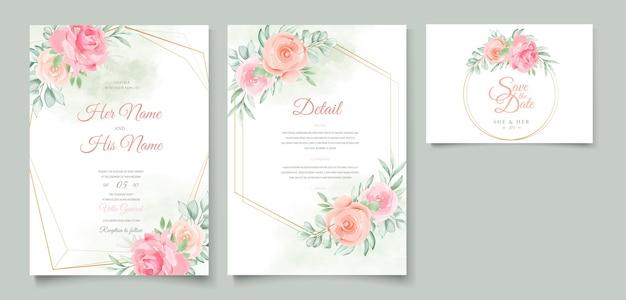 Cartão de convite de casamento floral em aquarela Vetor Premium