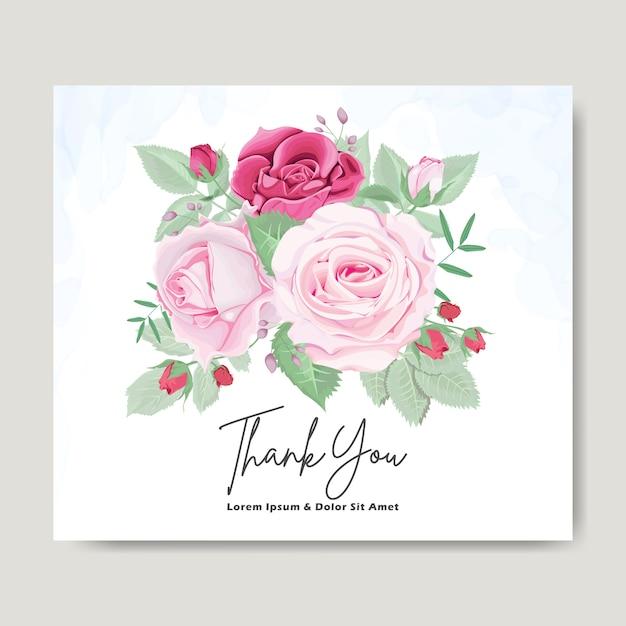 Cartão de convite de casamento floral lindo Vetor Premium