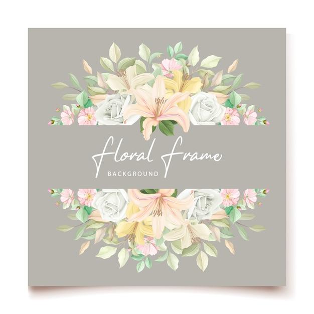 Cartão de convite de casamento floral lírio Vetor grátis