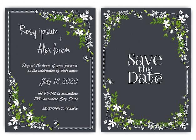 Cartão de convite de casamento floral mão desenhada frame. Vetor Premium