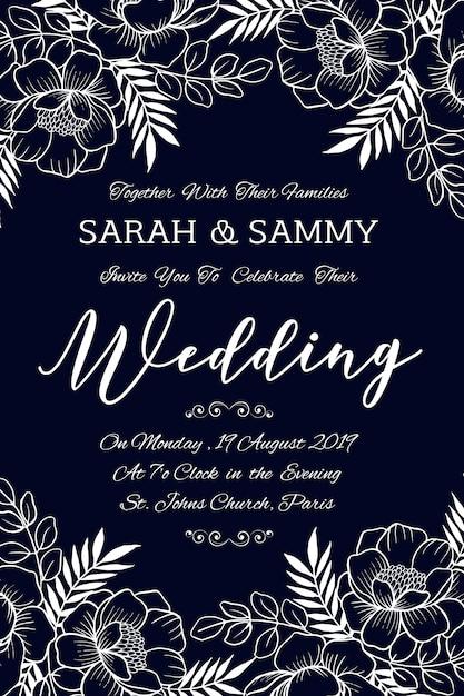 Cartão de convite de casamento floral mão desenhada Vetor Premium