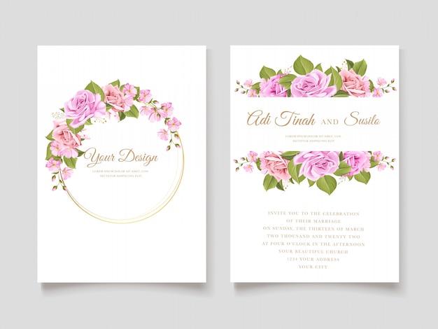 Cartão de convite de casamento floral Vetor grátis