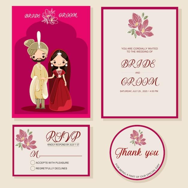 Cartão de convite de casamento indiano Vetor Premium