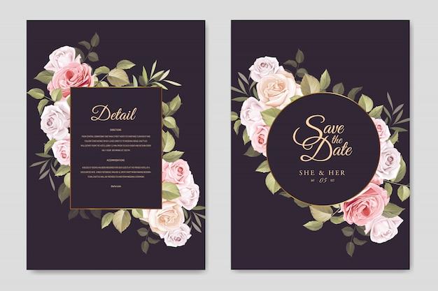 Cartão de convite de casamento lindo com floral e deixa o modelo Vetor Premium