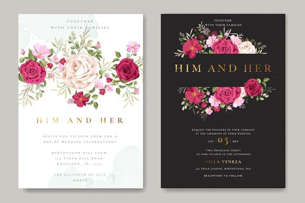 Cartão de convite de casamento lindo com grinalda floral e folhas Vetor Premium