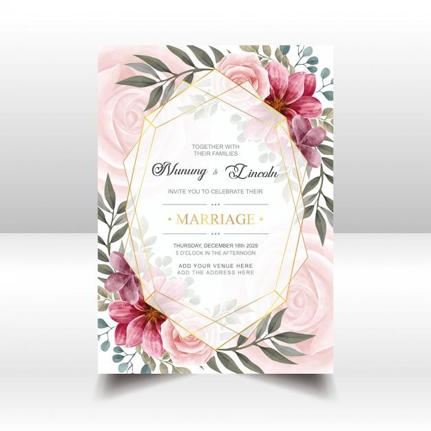 Cartão de convite de casamento lindo com moldura floral e dourado aquarela vintage Vetor Premium