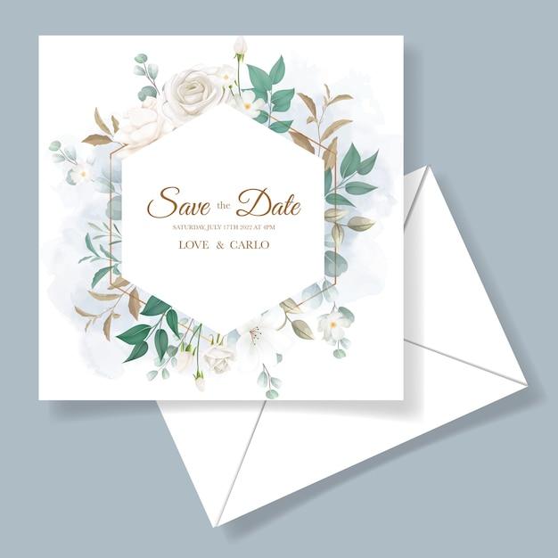 Cartão de convite de casamento lindo floral e folhas Vetor grátis
