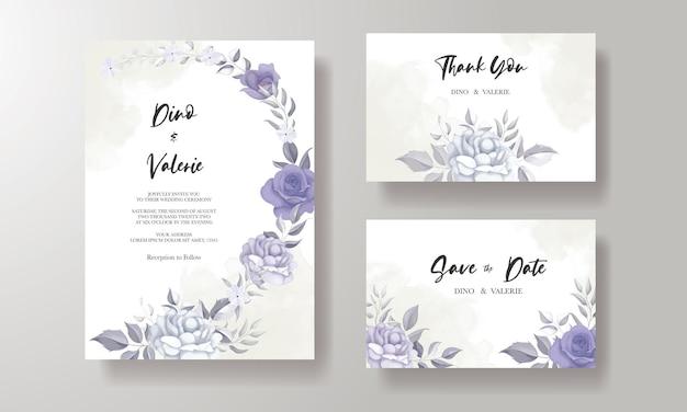 Cartão de convite de casamento moderno com bela decoração de flor roxa Vetor Premium