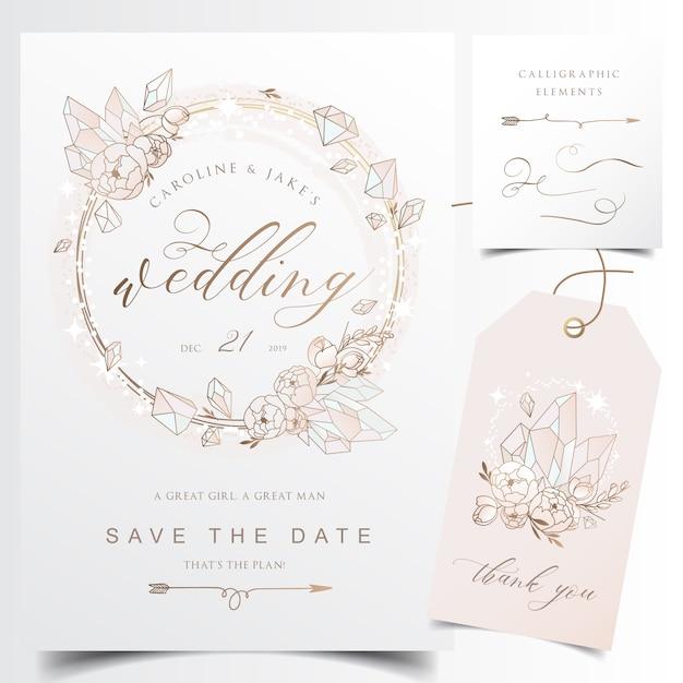 Cartão de convite de casamento moderno com coroa de flores de cristal Vetor Premium