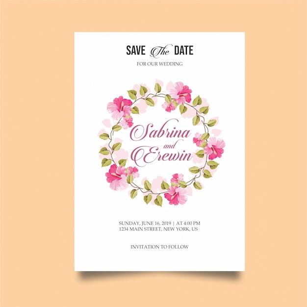 Cartão de convite de casamento moderno Vetor Premium