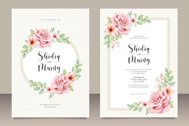Cartão de convite de casamento muito floral Vetor Premium