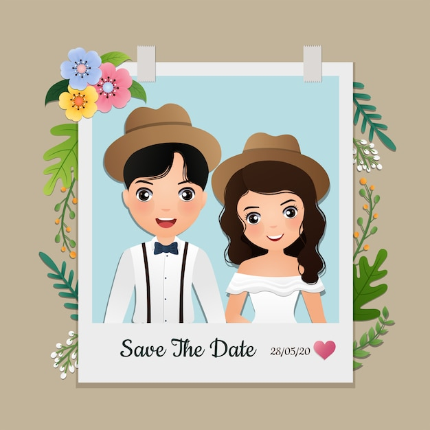 Cartao De Convite De Casamento O Personagem De Desenho Animado