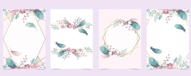 Cartão de convite de casamento ouro rosa geometria com rosa, folha, coroa de flores, penas e moldura Vetor Premium