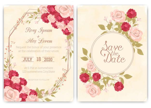 Cartão de convite de casamento quadro de mão floral desenhado Vetor Premium