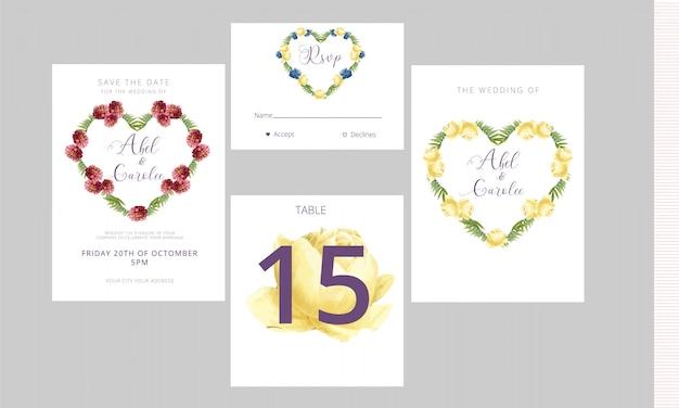 Cartão de convite de casamento rsvp e número da mesa Vetor Premium