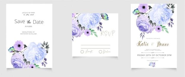 Cartão de convite de casamento rsvp e salvar o estilo de aquarela de data Vetor Premium