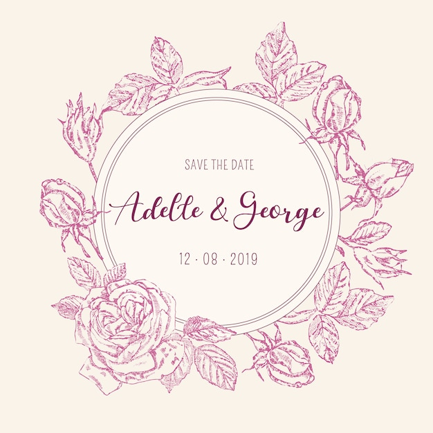 Cartão de convite de casamento vintage com rosas Vetor grátis
