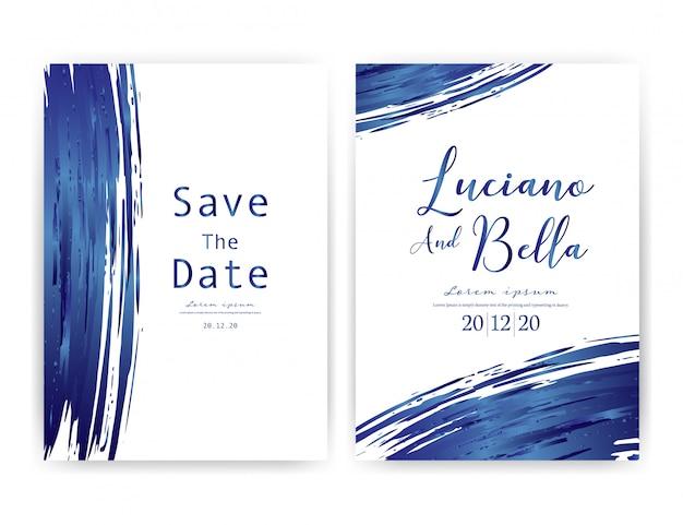 Cartão de convite de casamento. Vetor Premium