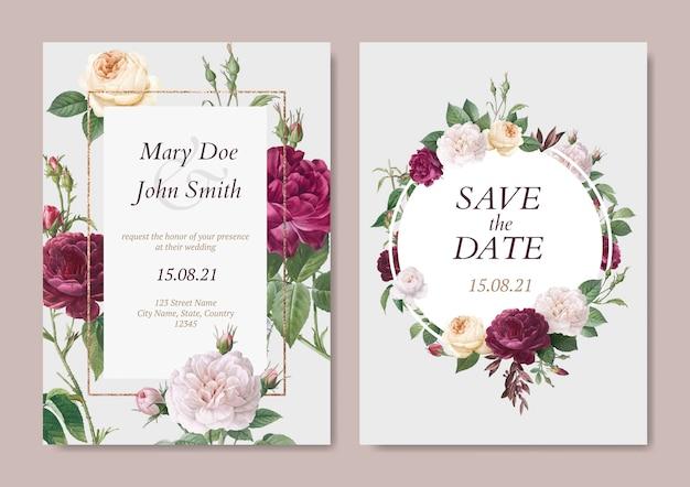Cartão de convite de casamento Vetor grátis