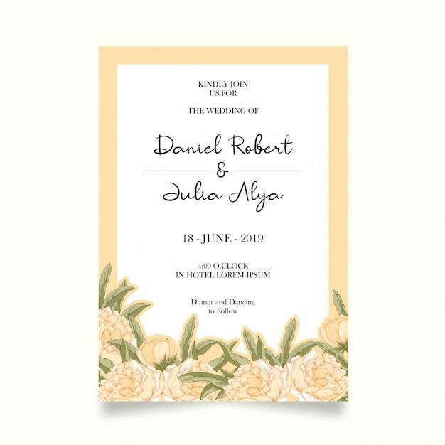 Cartão de convite de casamento Vetor Premium