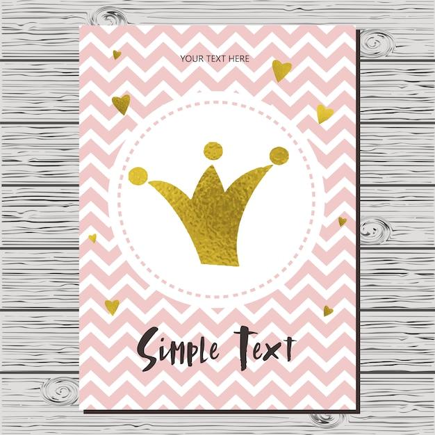 Cartão de convite de chuveiro de bebê com uma coroa. Vetor Premium