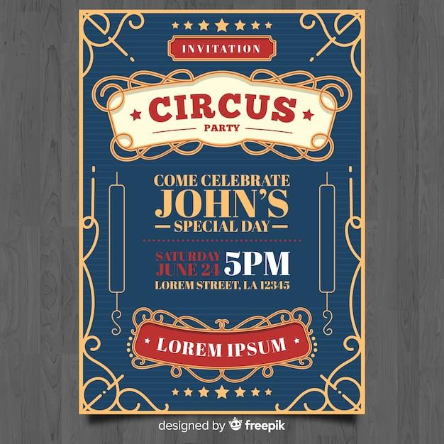 Cartão de convite de circo Vetor grátis
