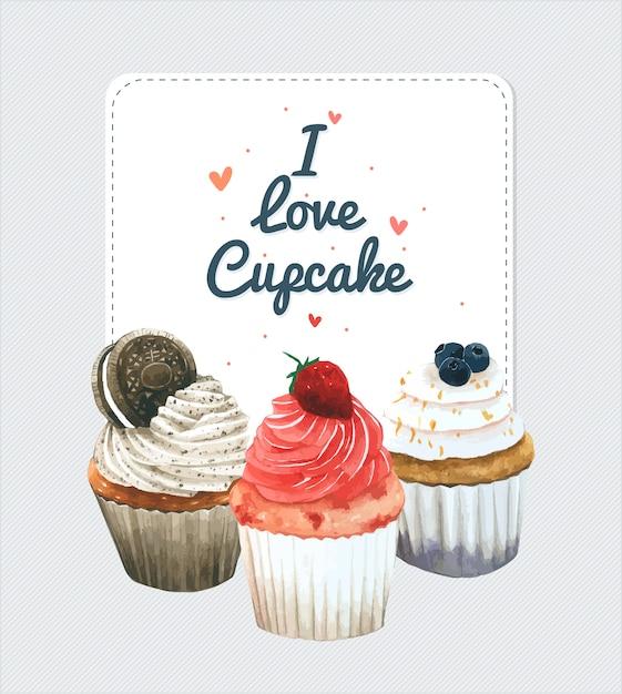 Cartão de convite de cupcake Vetor Premium