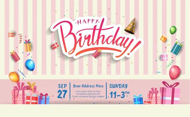 Cartão de convite de feliz aniversário Vetor Premium