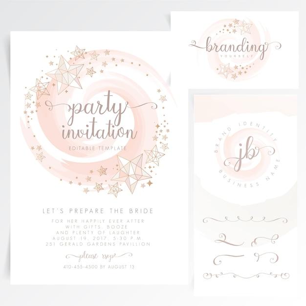Cartão de convite de festa bonito Vetor Premium