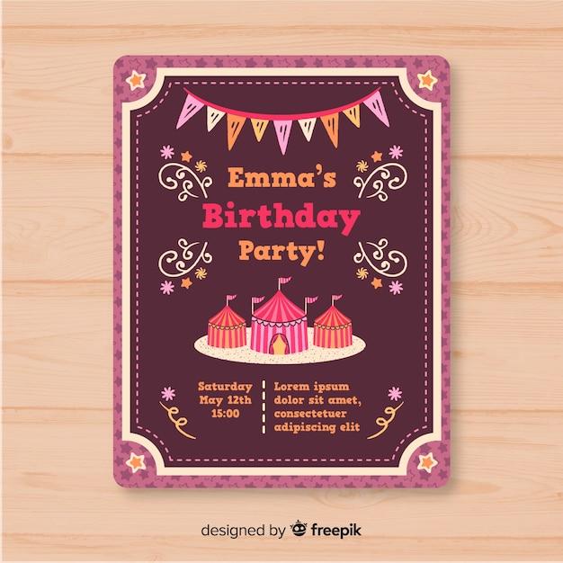 Cartão de convite de festa de circo vintage Vetor grátis