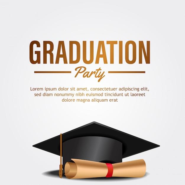 Cartão de convite de festa de formatura de luxo com chapéu e papel Vetor Premium