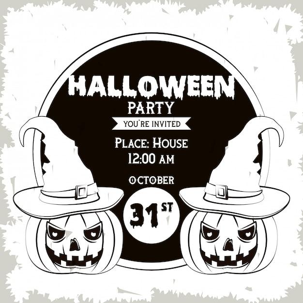 Cartao De Convite De Festa De Halloween Em Preto E Branco Vetor