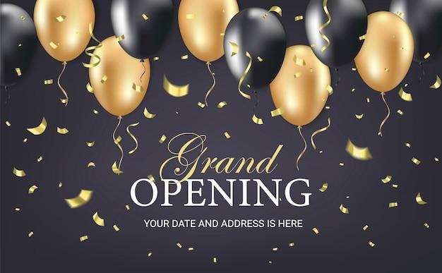 Cartão de convite de festa de inauguração Vetor Premium